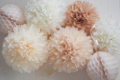 Poms de papel neutrales / decoración de la boda / / bebé ducha