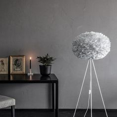 This large grey feather light shade Vita EOS is a beautiful shade. Make an impact in any space with this handcrafted, goose feather lamp shade. Feather Light Shade, Feather Lamp, Light Shades, Brown Floor Lamps, White Floor Lamp, White Table Lamp, Eos, Grey Headboard, Gray Bedroom