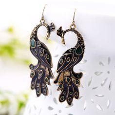 Vintage Rhinestone Embellished Peacock Shape Women's Earrings (AS THE PICTURE)   Vintage Earrings