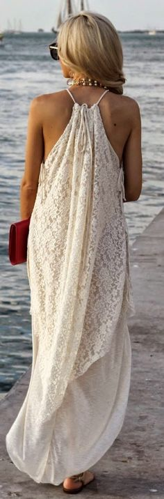 Thin strap lacy long maxi dress