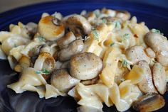 Chicken and Mushroom Egg noodles with a Garlic White Wine Sauce