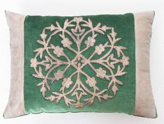 Antique Ottoman Empire raised silver embroidery pillow. Bordered with vintage Turkish silver metallic gallon, on dark jade velvet. Down filled. | B. Viz Designs | bviz.com