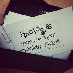 analogies, homonyms, antonyms, synonyms, etc. pocket games on index cards