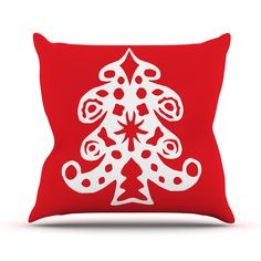"Miranda Mol ""Noble Pine Red"" Holiday Throw Pillow from KESS InHouse"