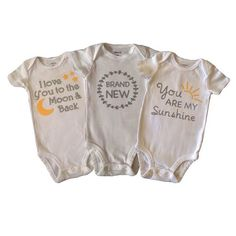 Get all 3 of these gender neutral onesies at a discounted bundle price. These are perfect for any boy or girl and would make the perfect baby shower