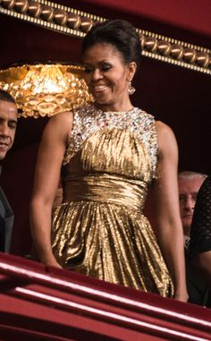 The first lady looked positively radiant in a gorgeous gold chiffon dress at the 35th Kennedy Center Honors. T
