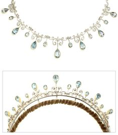 Vintage aquamarine and diamond tiara, convertible.