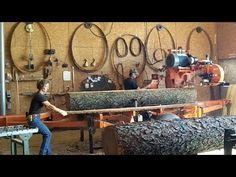 Wood-Mizer Sawmill Milling Nice Black Cherry Logs into Lumber, Husband & Wife Team Stacking Firewood, Firewood Logs, Woodworking Videos, Woodworking Shop, Bandsaw Mill, Woodshop Tools, Log Projects, Chainsaw Mill, Dewalt Tools