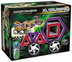 XL Cruisers, 30 pcs  Magnetic Magic! Magnetic Power!  Explore and experiemnt combining hte hexagons, triangles, and squares to create your own favorite XL Cruiser.  There are hundreds of possible 3-D combinations using these three geometric shapes.  Feel the magnetic force and have countless hours of fun building and designing different XL Cruisers.