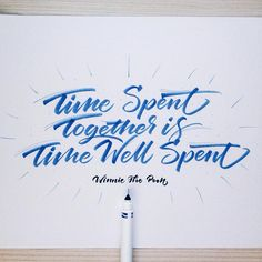 """""Time spent together is time well spent."" I bought this Crayola thing and I love it! ❤️✒️ #crayoligraphy #lettering #thisisarcher #typegang #calligraphy…"""