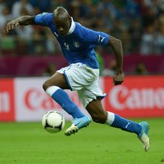 Mario Balotelli of Italy controls the ball before scoring his second goal during their UEFA EURO 2012 semi-final match against Germany.
