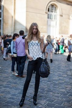 I don't know if you can pull off her exact look—I sure can't—but I think the combination of sweet lace with edgier pants and boots is smashing. To tone it down a bit, try pairing lace (with a cami underneath) with skinny jeans.