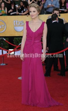 Dianna Agron Fuchsia Chiffon Prom Dress Evening Gown 2012 SAG Awards Red Carpet