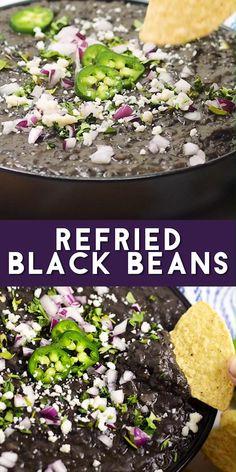 Black Bean Refried Beans, Mexican Beans Recipe, Vegan Refried Beans, Dry Beans Recipe, Vegan Mexican Recipes, Mexican Black Bean Dip Recipe, Authentic Refried Beans Recipe, Healthy Mexican Sides, Gourmet