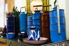 blue tin boxes at Tulu store in Istanbul
