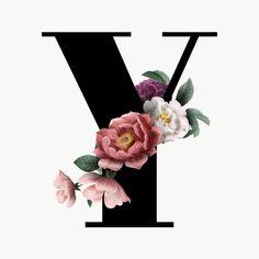 Floral Font, Floral Letters, Monogram Letters, Graphic Design Typography, Lettering Design, Logo Online Shop, Alphabet Capital Letters, Stylish Alphabets, Alien Drawings