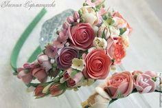 Купить Ободок из полимерной глины - кремовый, ободки, ободок для волос, Ободки с цветами