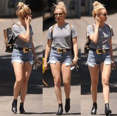 Ashley Tisdale out for lunch with a friend wearing denim shorts in Los Angeles on July 16, 2015