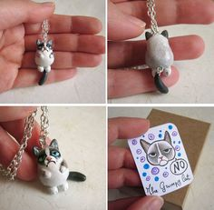 Grumpy Cat Necklace Polymer clay hand painted by FlowerLandShop, $45.00