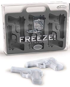 """FREEZE!"" - Gun Shaped Ice Cubes"