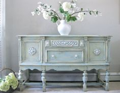 Hand Painted French Country Cottage Chic Shabby Romantic Vintage Victorian Jacobean Aqua Sideboard Cabinet Buffet