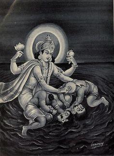 Indian Epics: Images and PDE Epics: Image: Vishnu Slays Madhu-Kaitabha Kali Hindu, Hindu Art, Durga Maa, Shiva Parvati Images, Ganesha Pictures, Lord Vishnu Wallpapers, Shiva Art, Lord Shiva Painting, Indian Art Paintings