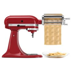The Kitchenaid Pasta Press Attachment Self Feeds Dough Into Hopper And Through Plates When Reaches Desired Length Si