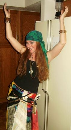 Gypsy= easiest costume ever! scarves and  jewelry and a skirt from the thrift store!