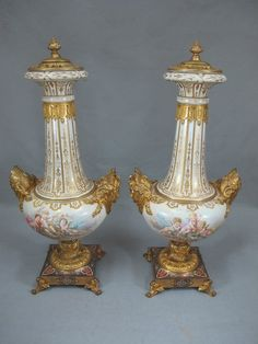 French Sevres pair of porcelain and gilt Champlevé bronze urns Porcelain Vase, Fine Porcelain, Ceramic Vase, Urn Vase, Antique Tractors, China Products, Antiques, Antique Vases, Thesis