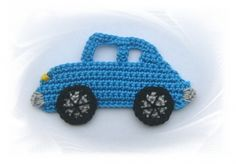 SaVö-Design - gehäkeltes Auto , Häkelapplikation, crochet car, Aufnäher