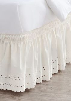 Home Accents  TwinTwinXLFull Ivory Eyelet Bedskirt with Dual Fit Techn