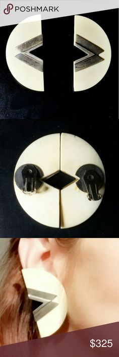 """Antique Huge Ivory & Sterling Silver Earrings Beautiful Antique, Huge, Pre-ban Ivory & Sterling Silver Clip Back Earrings. While unmarked, they tested positive for Sterling Silver. I believe the backs are not original. One of the clips needs to be tightened (something you could do yourself or very inexpensively at a jewelery store). The earrings measure approximately 2.25"""" x 1.25"""". Rare & very difficult to come by, finding earrings like these is a once-in-a-lifetime opportunity! Excellent…"""