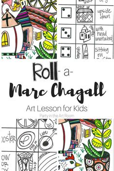 Marc Chagall Art Lesson for Kids: Super fun art lesson with language activities. Fill up your art sub tub with no-prep art projects.  Paintings For Kids Quotes Bible Stained Glass Art Lesson I And The Village Violin Over The Town Cat Red Coloring Pages Watercolor Love Surrealism Famous Painters Children