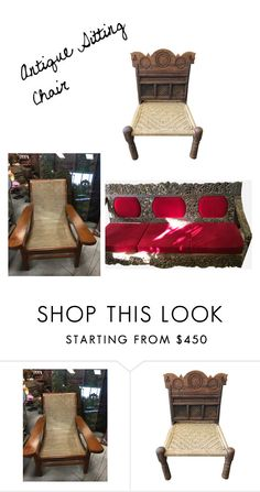 Antique Sitting Chair by era-chandok on Polyvore featuring interior, interiors, interior design, home, home decor, interior decorating and vintage