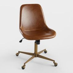 Cognac Bi Cast Leather Molded Chair - v1