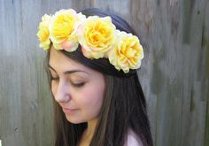 Yellow Rose Crown - Rich Yellow Rose Flower Crown - Golden, Yellow Roses, Goddess. $40.00, via Etsy.
