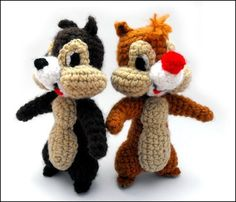 chip y chop amigurumi Christmas Crochet Patterns, Crochet Toys Patterns, Amigurumi Patterns, Amigurumi Doll, Crochet Disney, Diy Crochet, Crochet Dolls, Crochet Baby, Chip E Dale