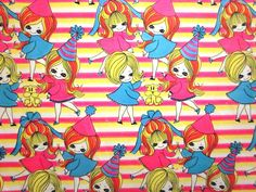 Vintage Wrapping Paper - Groovy Girls - Partial Sheet Gift Wrap.