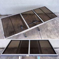 "Mid Century Modern "" Z "" Chrome & Glass Extension Table Baughman Style  | eBay"