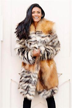 Alter Ego Fox Faux Fur Knee-Length Coat - 4