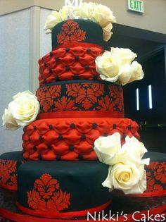 Red and Black Damask Wedding Cake- love it however dislike white flowers
