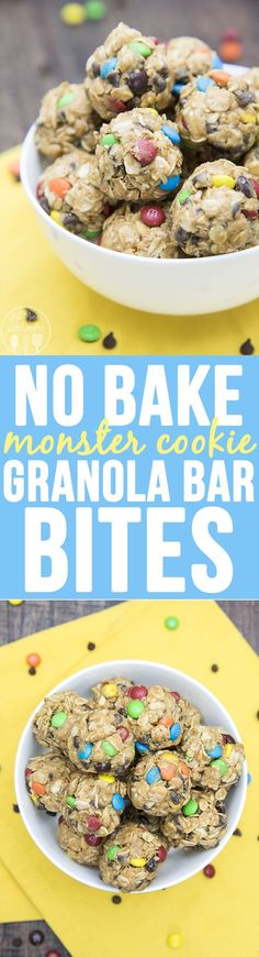 No Bake Monster Cookie Granola Bar Bites - these no bake granola. No Bake Monster Cookie Granola Bar Bites - these no bake granola bar bites taste just like monster cookies without the flour and white sugar. Theyre perfect for a healthier snack! Yummy Snacks, Snack Recipes, Dessert Recipes, Cooking Recipes, Yummy Food, Tasty, Freezer Recipes, Freezer Cooking, Drink Recipes