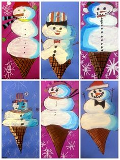 Snowman Scoops Ice Cream Cone Exploring Art: Elementary Art