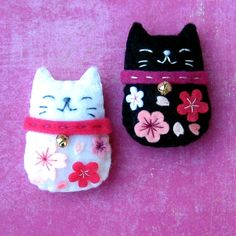 Felt Magnets - Maneki Neko Sakura Cat