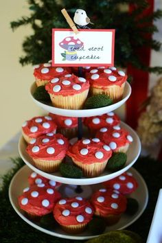 Simple and effective toadstool cupcakes. Perfect for a magical Fairy Feet party...