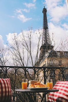 the Eiffel Tower for breakfast, with buttery croissants and red-chequered cushions