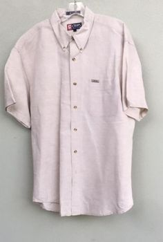 Chaps-Ralph-Lauren-Shirt-Mens-Collared-Button-Down-Front-StyLarge-Short-Sleeve