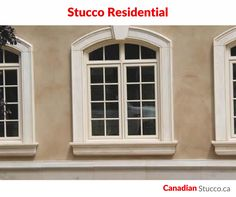 Stucco applications provide durable, cost-efficient, and aesthetically-appealing options for the exterior and/or interior of private residences as well as multiple-residence complexes. Discount Interior Doors, Windows, Windows Exterior, House Exterior, Exterior Design, Stucco Homes, Window Trim Exterior, Exterior Trim, Stucco
