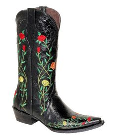 Love this Black Flower Embellished Leather Cowboy Boot by Pecos Bill on #zulily! #zulilyfinds