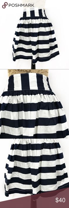MNG by Mango striped nautical skirt Blue and white. Gently used. Size 4. With pockets. Side zipper Measurements are taken with the garment laying flat, unstretched, in inches not doubled and are approximate. Wasit-13.5 hip-free length-19.5 Mango Skirts